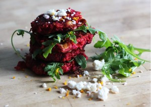 Beetroot and feta fritters