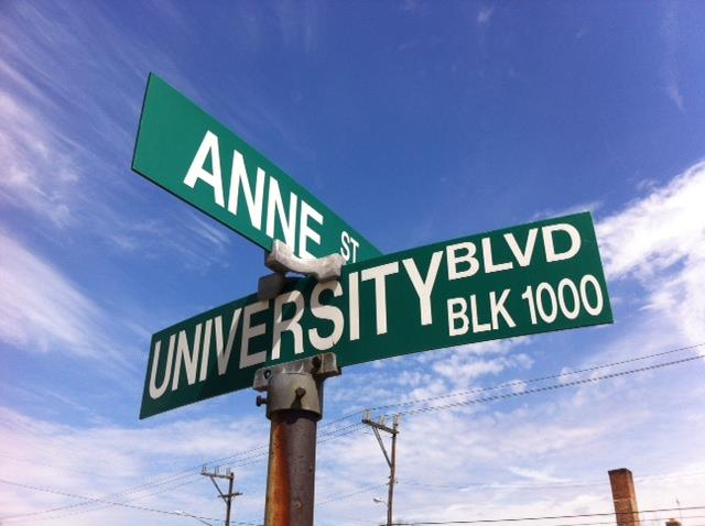 Anne St. and University Blvd. East street signs in Takoma Park Maryland Crossroads Farmers Market